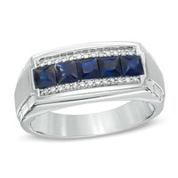 Men's Princess-Cut Blue Sapphire and 1/8 CT. T.W. Diamond Ring in 10K White Gold - View All Rings - Zales