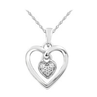Diamond Accent Double Heart Cluster Pendant in 10K White Gold - View All Necklaces - Zales