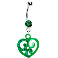 Green Hollow Heart Scroll Belly Ring | Body Candy Body Jewelry
