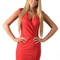 Red Fitted V-Neck Mini Dress
