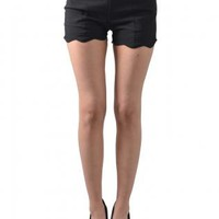 Black Fitted High-Waist Dress Shorts