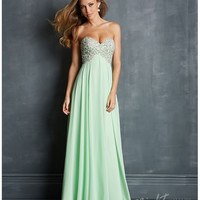 (PRE-ORDER) Night Moves by Allure 2014 Prom: Lime Chiffon & Embroidered Jeweled Bodice Prom Dress