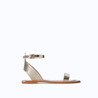 METALLIC LEATHER SANDAL WITH ANKLE STRAP
