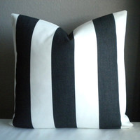 Black and white wide stripe outdoor pillow cover - Fabric both sides -