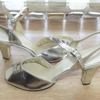 Vintage 40s 50s Silver Metallic Open Toe High Heel Pumps 8.5 Swing Shoes VLV Pin-up Rockabilly Wedding