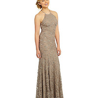 B. Darlin Lace Halter Gown | Dillards.com