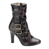 4 Inch Tweed Western Ankle Boots Buckles Sexy Boots Brown Floral