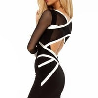 Q9020 Quontum Black/Off White Mesh Cross Strap Dress