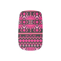 Mix #559 - Pink Tribal Nail Art