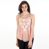 Jolt Juniors Lace Front Tank with Beaded Straps at Von Maur