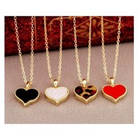 ChineOn Korean Fashion Beautiful Enamel Love Heart Shape Gold border Necklace Pendant(Pack of 4)