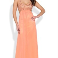 chiffon w/beaded halter bodice side cut out and tie back