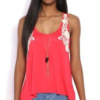 High Low Tank Top with Crochet Trim Shoulders