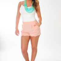 Pretty In Petals Shorts: Peach