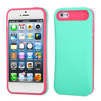 Hybrid Card Protector Case for iPhone 5 / 5S - Mint Green/Hot Pink