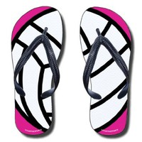 Flip Flops Volleyball Ball on Fuchsia