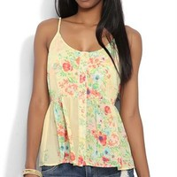 Peasant Tank Top with Floral Print and Button Front