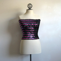 Clichy Club Kid Vintage 1980s Top Sequin Black Teal Fuchsia Tube Top Small