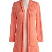 To Teach Her Own Cardigan in Coral | Mod Retro Vintage Sweaters | ModCloth.com