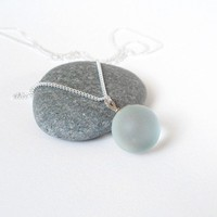 sterling silver frosted glass necklace limited edition by huiyitan