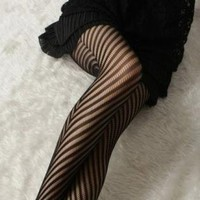 Black Leggings/Tights - Zebra Effect Fishnet Socks | UsTrendy