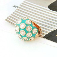 Gold Plated Green Rhinestone Dome Ring wholesale from yiwu rhinestone jewelry wholesale supplier.