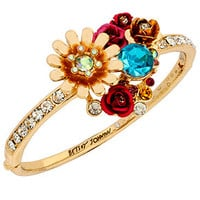 Betsey Johnson Gold-Tone Crystal and Flower Hinged Bangle Bracelet
