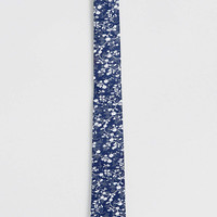 Navy Floral Print Tie - Ties & Pocket Squares - Shoes and Accessories - TOPMAN USA