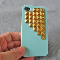 golden pyramid stud blue Hard Case Cover by jewelrybraceletcuff
