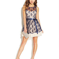 B Darlin Juniors' Belted Lace Illusion Dress