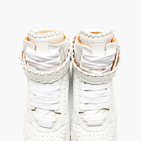 WHITE LEATHER BASEBALL STITCH HIGH-TOP SNEAKERS