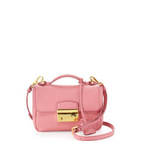 Prada Saffiano Rounded Mini Sound Bag, Fuchsia (Geranio)