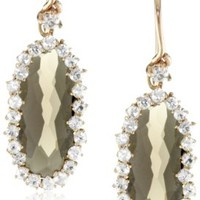Kalan by Suzanne Kalan Oval Smokey Quartz Wire Drop Earrings