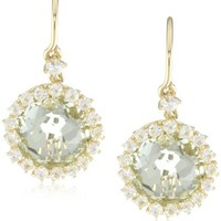 Kalan by Suzanne Kalan Round Green Amethyst Wire Drop Earrings