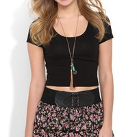 Triple Tiered Black Ditsy Floral Print Skirt with Belt Waist