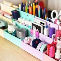 niceeshop(TM) DIY Stationery Makeup Organizer Paper Board Storage Box,Random Color