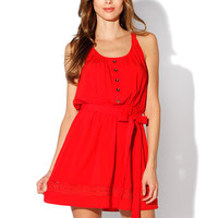Papaya Clothing Online :: SHOULDER TRIMMING WAIST BOW DRESS