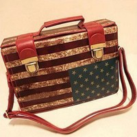 2013 New Retro Vintage USA Flag Medicine Chest Bag Women's Handbag Fashion All-match Doctor Bag Cross-body Handbag American Flag