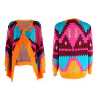 Colorful Tribal Aztec Blanket Wrap Cardigan Waterfall Open Front