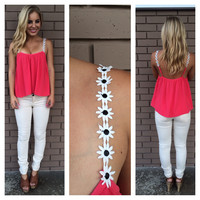 Coral Daisy Low Back Tank