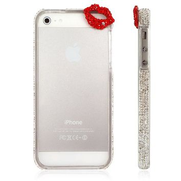 Bling Sexy Lip Gradient Color Rhinestone Glitter Bumper Case for iPhone 5 5S (White)