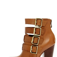 Chinese Laundry Gadget Cognac Leather Buckled High Heel Booties