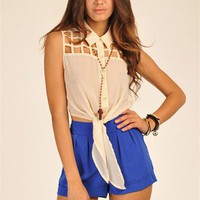 Cropped Cage Top - Taupe at Necessary Clothing