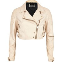 Cream croc panel cropped biker jacket - leather / leather look jackets - coats / jackets - women