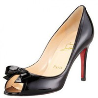Christian Louboutin Milady Patent Leather Bow Peep-Toe Pump