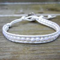 Beaded Leather Single Wrap Stackable Bracelet with White Freshwater Pearl Beads on White Pearl Leather