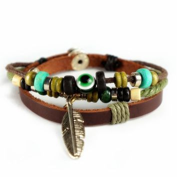 ZLYC Unisex Handmade Leather Bracelet-Feather