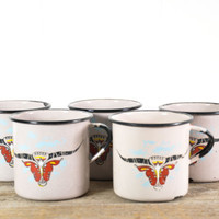 Vintage Enamel Camp Mugs With Southwest Style Bull Head // Set of 5