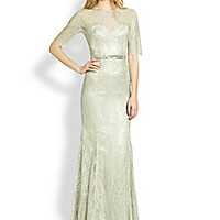 Theia - Lace Boatneck Gown - Saks Fifth Avenue Mobile