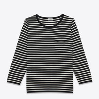 Saint Laurent Long Sleeve Pocket T Shirt In BEIGE And Black Merino Wool | ysl.com